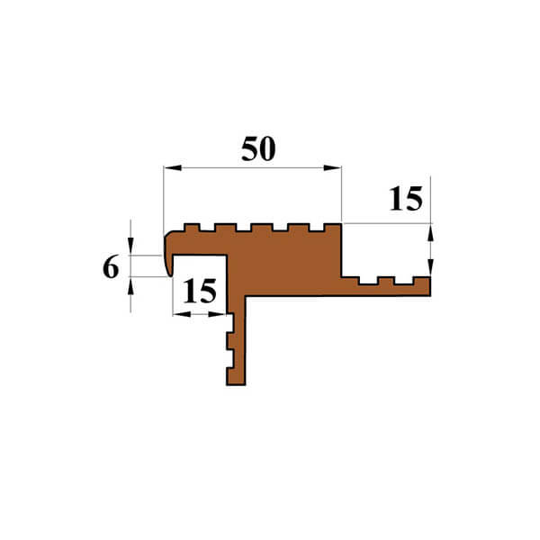 Закладной противоскользящий профиль «Безопасный Шаг Премиум» (БШ-50) темно-коричневый