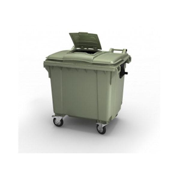 Контейнер для мусора 1100 л крышка в крышке, на колесах