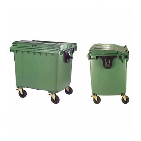 Контейнер для мусора 1100 л с плоской крышкой, на колесах