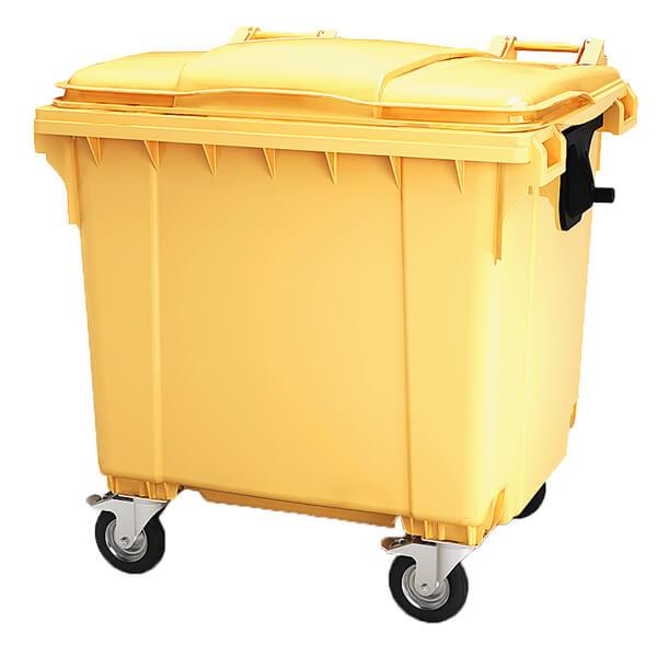 Контейнер для мусора 1100 л с крышкой, на колесах