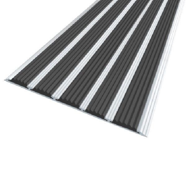 Противоскользящая алюминиевая полоса с пятью вставками 162 мм/6 мм 3,0 м черный
