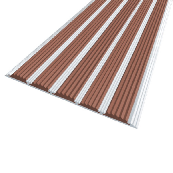 Противоскользящая алюминиевая полоса с пятью вставками 162 мм/6 мм 2,0 м коричневый