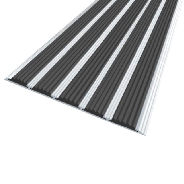 Противоскользящая алюминиевая полоса с пятью вставками 162 мм/6 мм 1,33 м черный