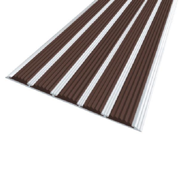 Противоскользящая алюминиевая полоса с пятью вставками 162 мм/6 мм 1,33 м темно-коричневый