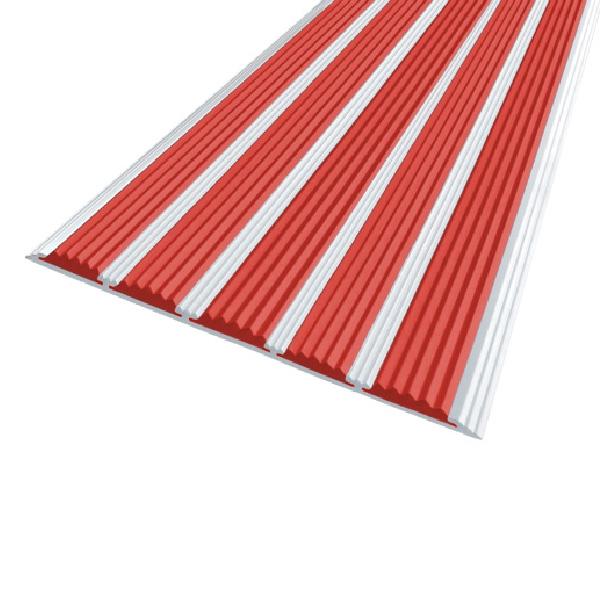 Противоскользящая алюминиевая полоса с пятью вставками 162 мм/6 мм 1,33 м красный