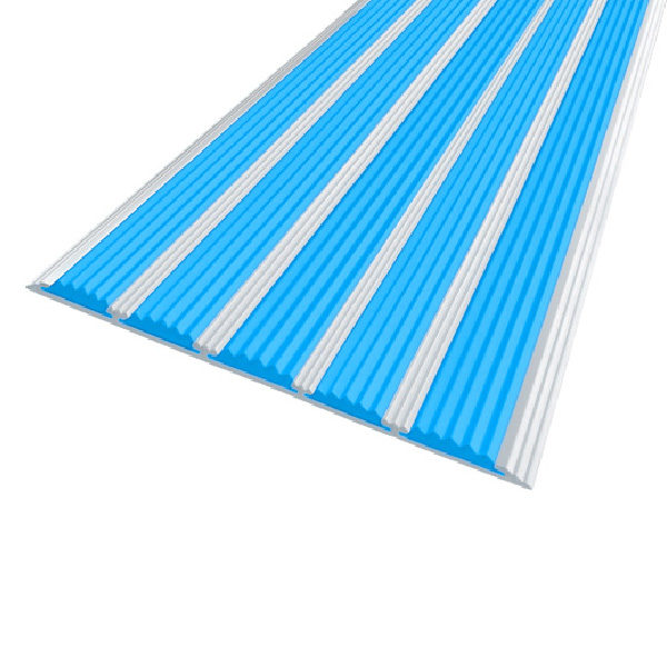 Противоскользящая алюминиевая полоса с пятью вставками 162 мм/6 мм 1,33 м голубой