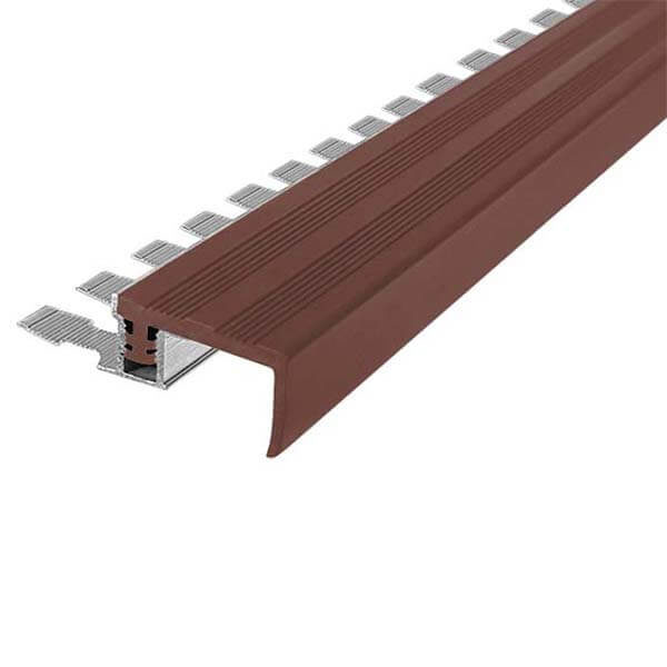 Закладной противоскользящий алюминиевый профиль FlexStep 2,7 м 25 мм/18 мм темно-коричневый