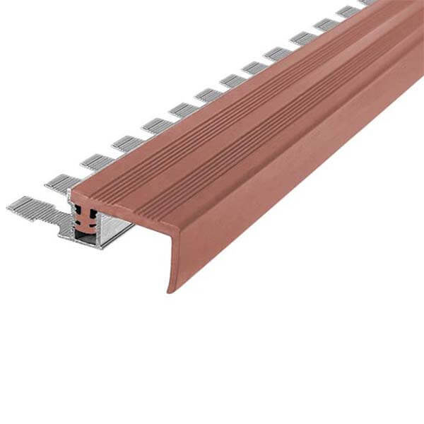 Закладной противоскользящий алюминиевый профиль FlexStep 2,7 м 25 мм/18 мм коричневый
