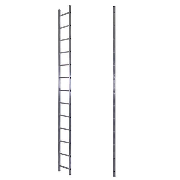 Лестница алюминиевая односекционная приставная усиленная 13 ступеней