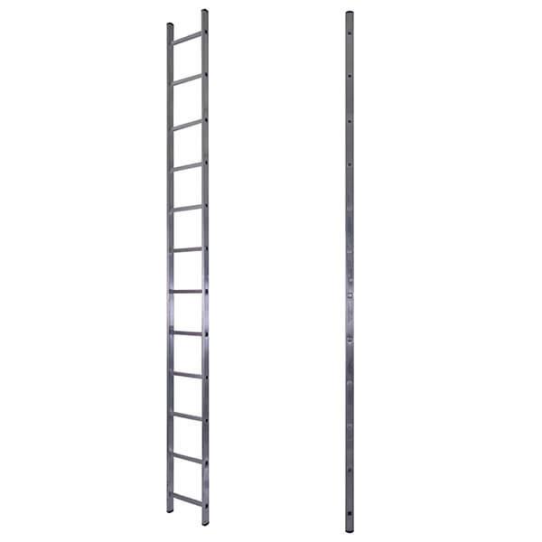 Лестница алюминиевая односекционная приставная усиленная 15 ступеней