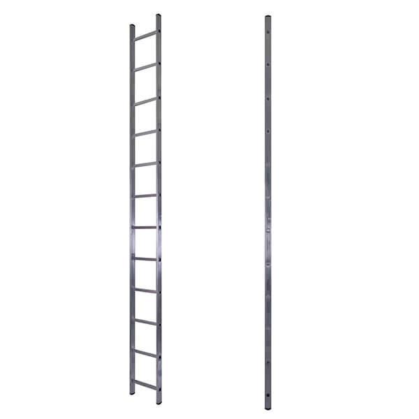 Лестница алюминиевая односекционная приставная усиленная 17 ступеней