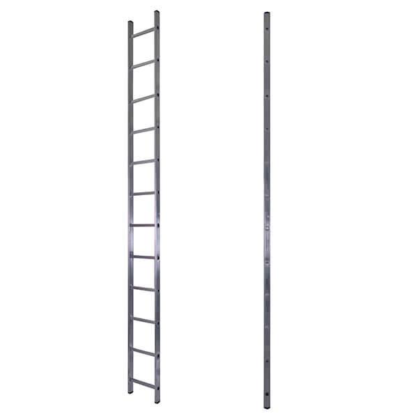 Лестница алюминиевая односекционная приставная усиленная 18 ступеней