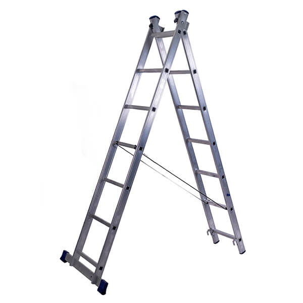 Лестница алюминиевая двухсекционная универсальная усиленная 16 ступеней