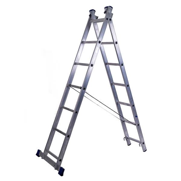 Лестница алюминиевая двухсекционная универсальная усиленная 17 ступеней