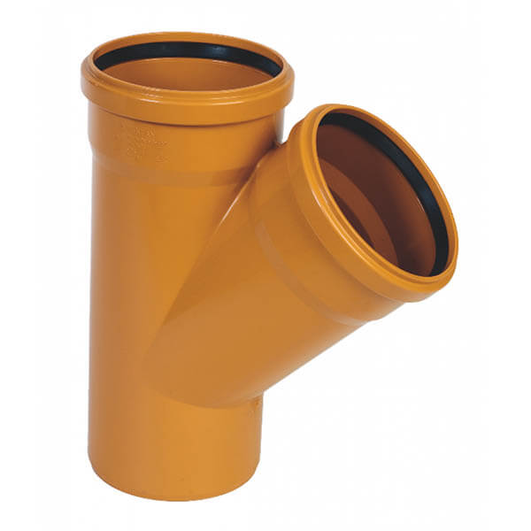 Тройник для трубы наружной канализации 160/160 мм, 45˚