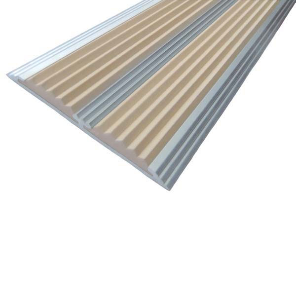 Противоскользящая алюминиевая самоклеющаяся полоса с двумя вставками 70 мм/5,5 мм 3,0 м бежевый