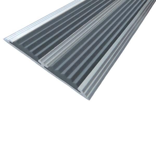 Противоскользящая алюминиевая самоклеющаяся полоса с двумя вставками 70 мм/5,5 мм 1,33 м серый