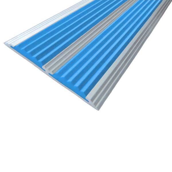 Противоскользящая алюминиевая самоклеющаяся полоса с двумя вставками 70 мм/5,5 мм 1,33 м голубой