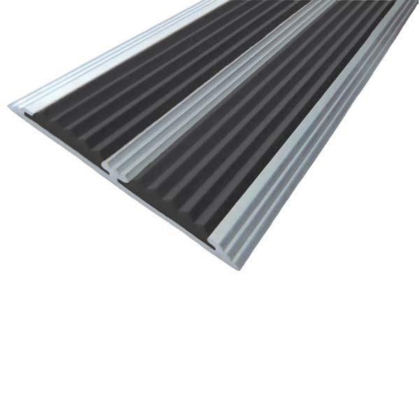 Противоскользящая алюминиевая самоклеющаяся полоса с двумя вставками 70 мм/5,5 мм 1,0 м черный