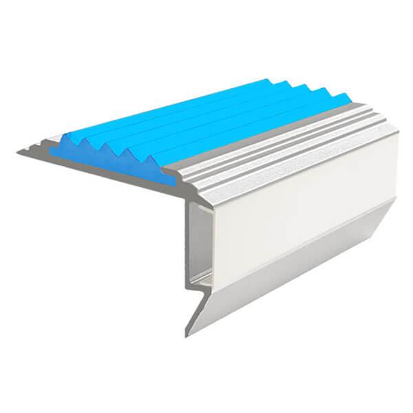 Противоскользящий алюминиевый анодированный угол-порог GlowStep-45 1,0 м голубой, профиль черный