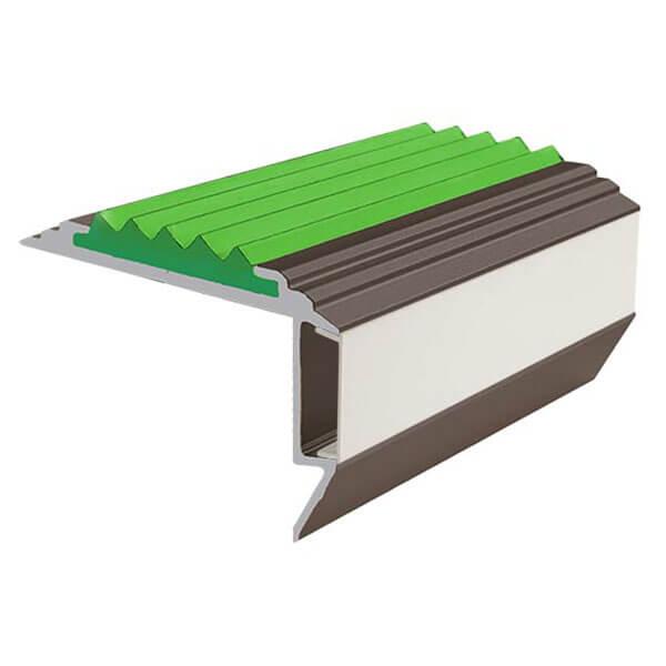 Противоскользящий алюминиевый анодированный угол-порог GlowStep-45 2,0 м зеленый, профиль цветной