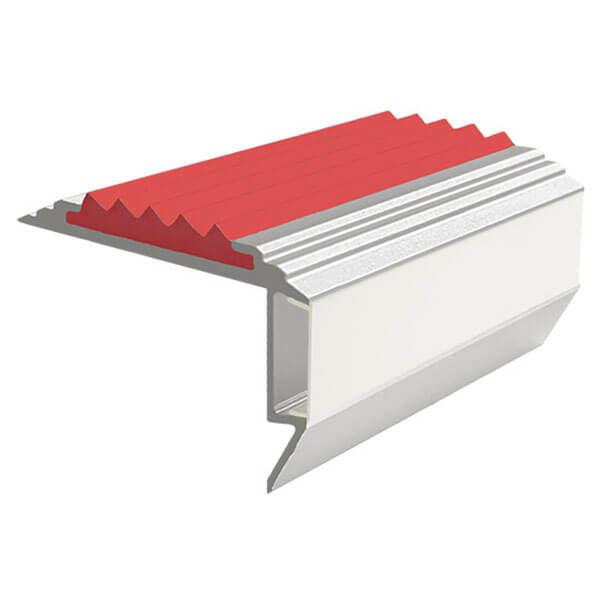 Противоскользящий алюминиевый анодированный угол-порог GlowStep-45 2,0 м красный, профиль цветной