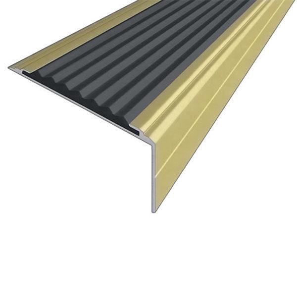 Противоскользящий анодированный алюминиевый угол-порог Премиум 50 мм 1,5 м черный
