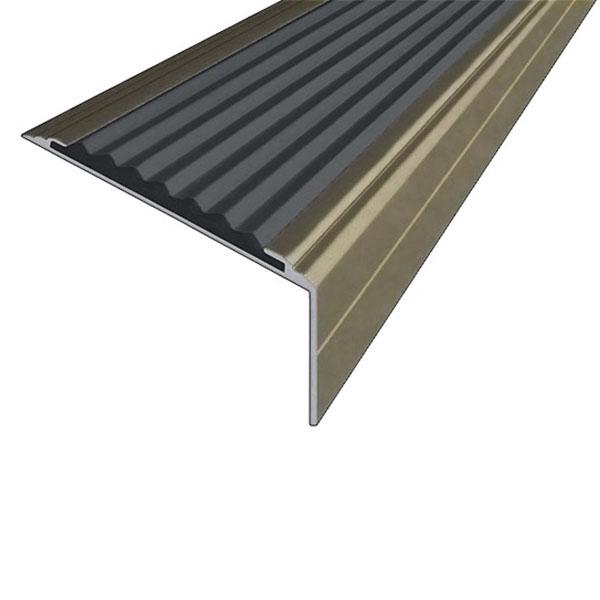 Противоскользящий анодированный алюминиевый угол-порог Премиум 50 мм 3,0 м черный