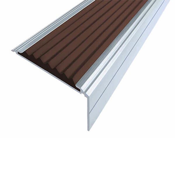 Противоскользящий анодированный алюминиевый угол-порог Премиум 50 мм 1,0 м темно-коричневый