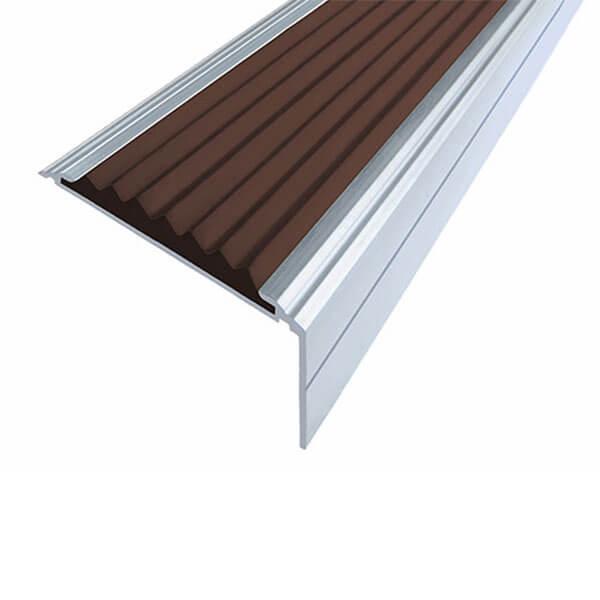 Противоскользящий анодированный алюминиевый угол-порог Премиум 50 мм 3,0 м темно-коричневый