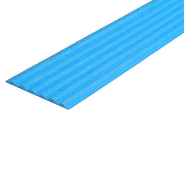 Противоскользящая тактильная направляющая самоклеющаяся полоса 40 мм голубой
