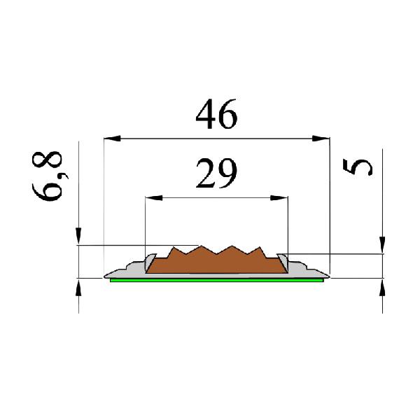 Противоскользящая алюминиевая самоклеющаяся накладная полоса 46 мм/5 мм 2,0 м серый