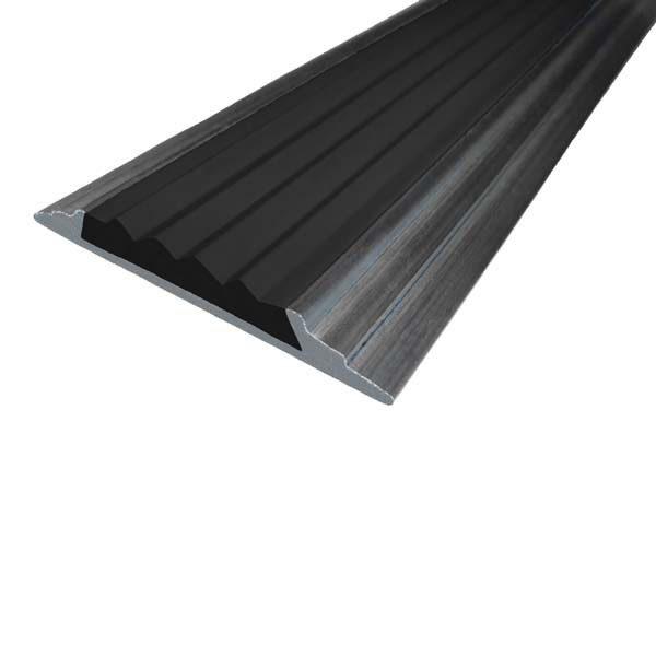 Противоскользящая алюминиевая самоклеющаяся накладная полоса 46 мм/5 мм 1,33 м черный