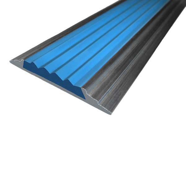 Противоскользящая алюминиевая самоклеющаяся накладная полоса 46 мм/5 мм 1,33 м синий