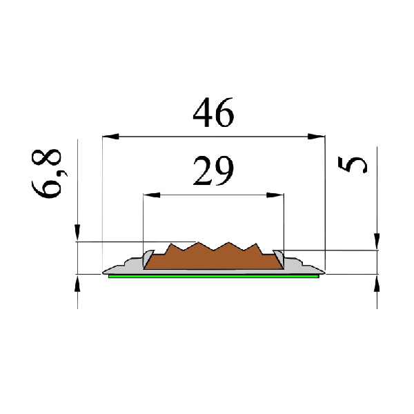 Противоскользящая алюминиевая самоклеющаяся накладная полоса 46 мм/5 мм 1,0 м серый