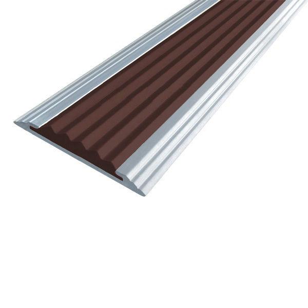 Противоскользящая алюминиевая полоса Стандарт 2,7 м 40 мм/5,6 мм темно-коричневый