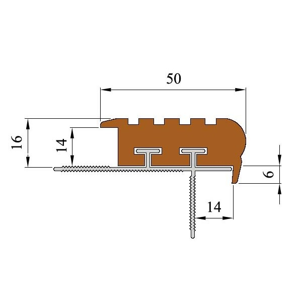 Закладной противоскользящий профиль «Уверенный Шаг» (УШ-50) 2,4 м коричневый