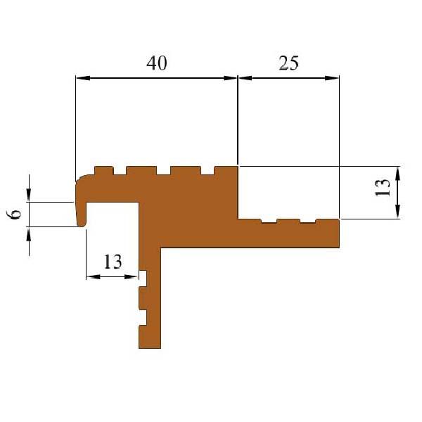 Закладной противоскользящий профиль «Безопасный Шаг» (БШ-40) темно-коричневый