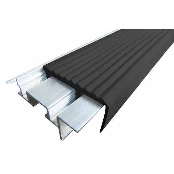 Закладной противоскользящий алюминиевый профиль SafeStep 2,4 м 43 мм/24 мм черный