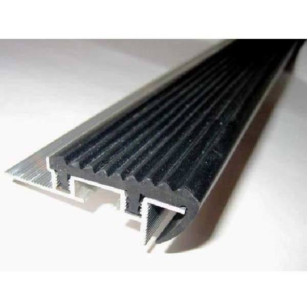 Закладной противоскользящий алюминиевый профиль SafeStep 2,4 м 43 мм/24 мм темно-коричневый