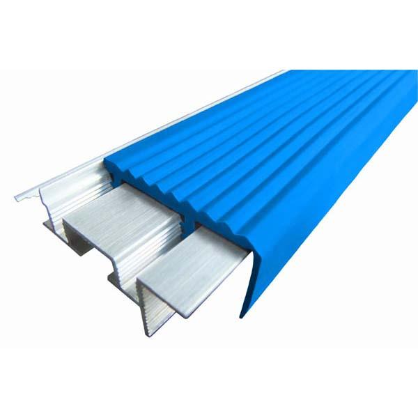 Закладной противоскользящий алюминиевый профиль SafeStep 2,4 м 43 мм/24 мм синий