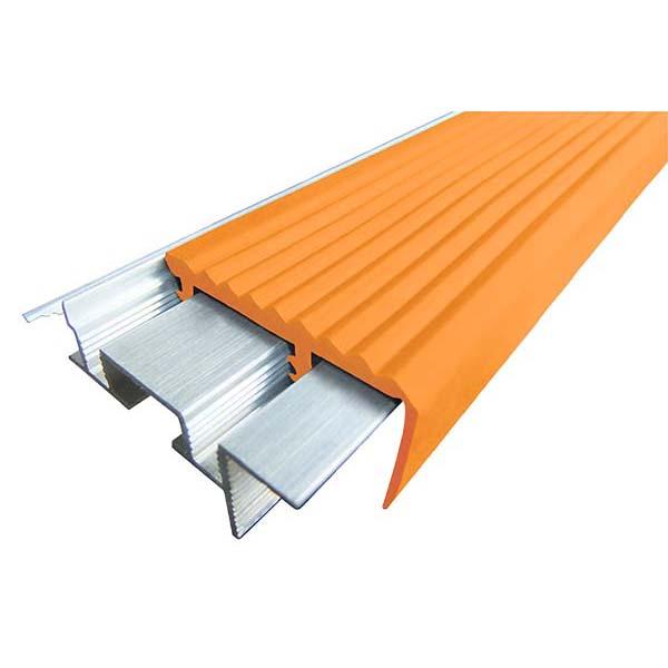 Закладной противоскользящий алюминиевый профиль SafeStep 2,4 м 43 мм/24 мм оранжевый