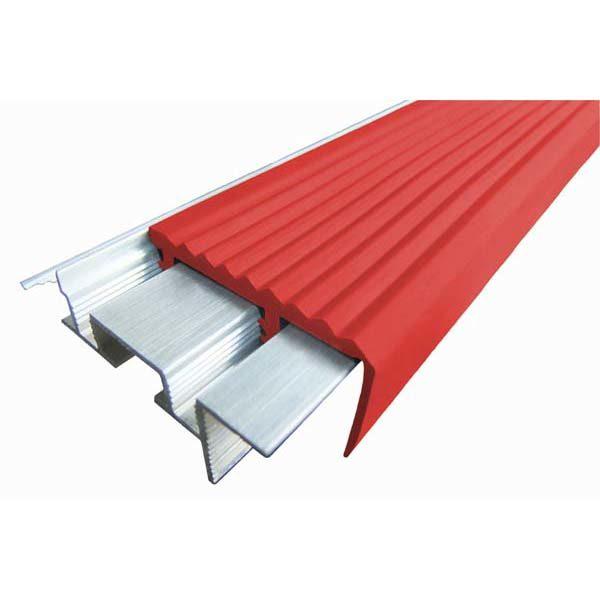 Закладной противоскользящий алюминиевый профиль SafeStep 2,4 м 43 мм/24 мм красный