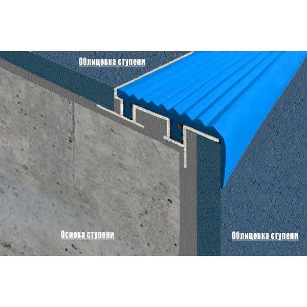 Закладной противоскользящий алюминиевый профиль SafeStep 2,4 м 43 мм/24 мм голубой