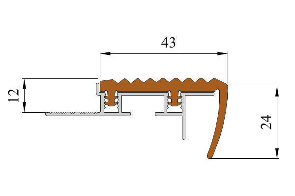 Закладной противоскользящий алюминиевый профиль SafeStep 1,2 м 43 мм/24 мм темно-коричневый