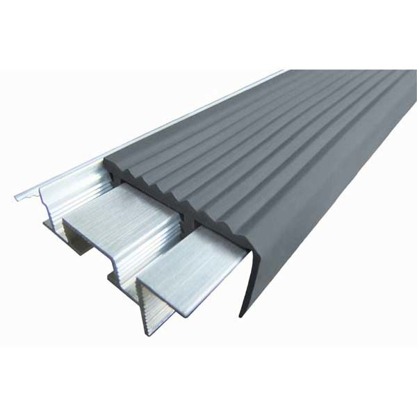 Закладной противоскользящий алюминиевый профиль SafeStep 1,2 м 43 мм/24 мм серый