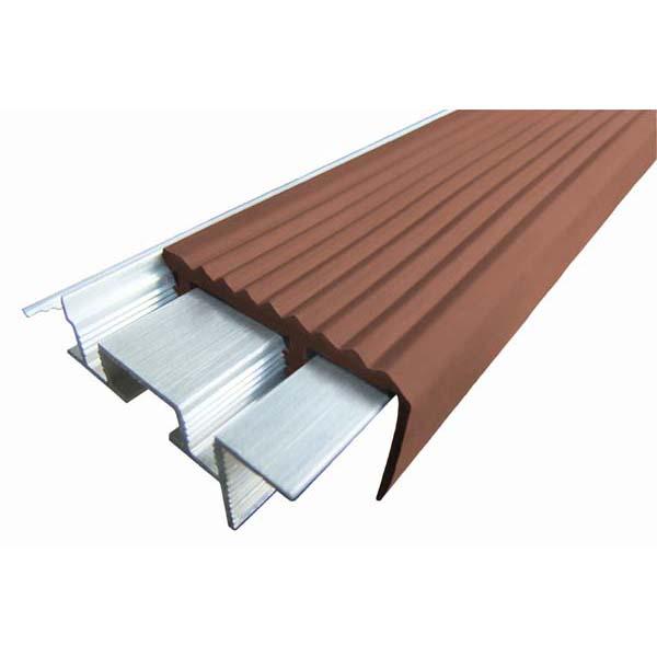Закладной противоскользящий алюминиевый профиль SafeStep 1,2 м 43 мм/24 мм коричневый