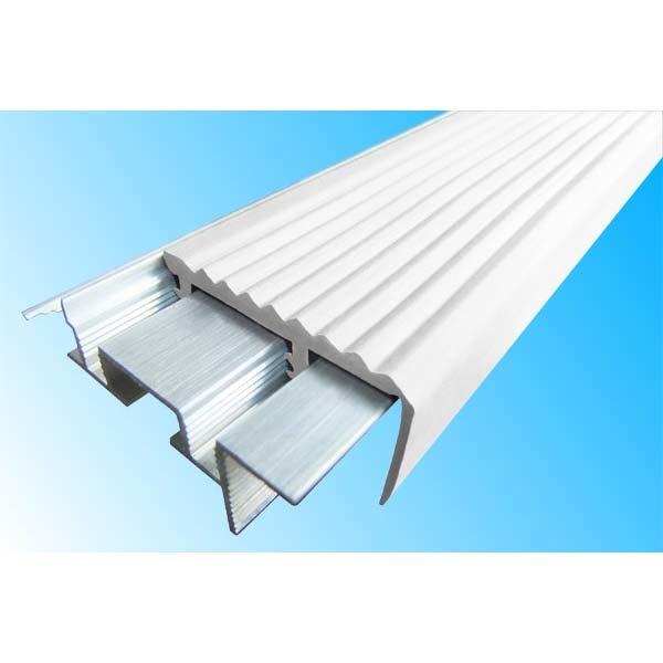 Закладной противоскользящий алюминиевый профиль SafeStep 1,2 м 43 мм/24 мм белый