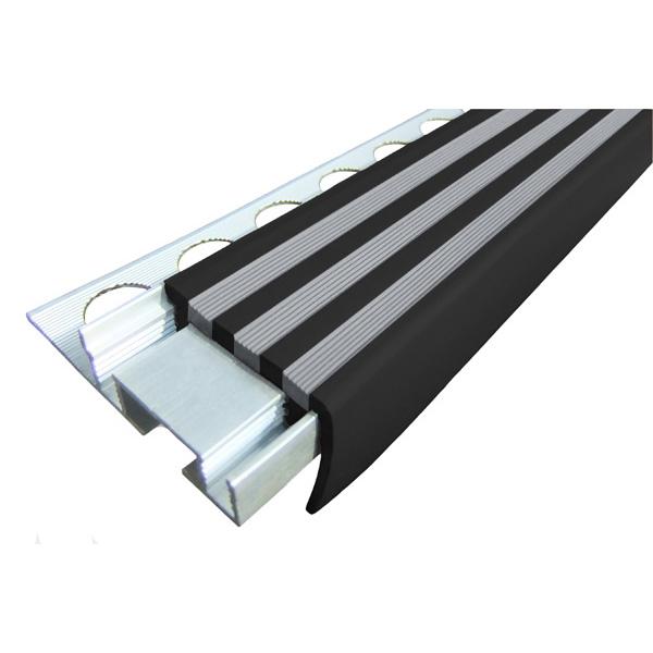 Закладной противоскользящий алюминиевый профиль ALPB 2,7 м 32 мм/20 мм черно-серый