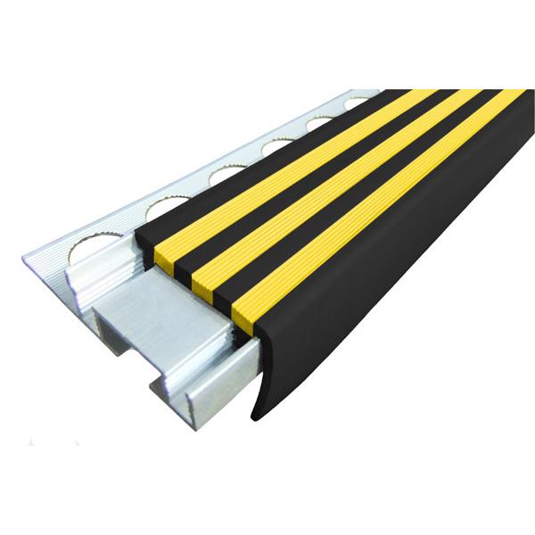 Закладной противоскользящий алюминиевый профиль ALPB 2,7 м 32 мм/20 мм черно-желтый
